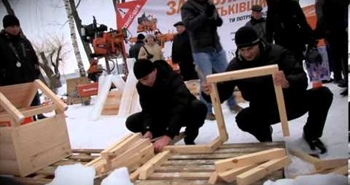 Wood-Mizer sawmills cutting ice in Ukraine